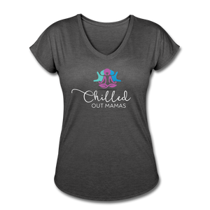 Chilled Out Mamas Women's Tri-Blend V-Neck T-Shirt - deep heather