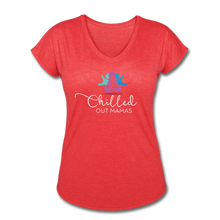 Load image into Gallery viewer, Chilled Out Mamas Women's Tri-Blend V-Neck T-Shirt - heather red