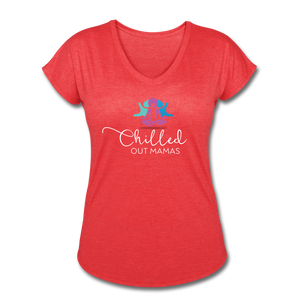 Chilled Out Mamas Women's Tri-Blend V-Neck T-Shirt - heather red