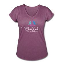 Load image into Gallery viewer, Chilled Out Mamas Women's Tri-Blend V-Neck T-Shirt - heather plum