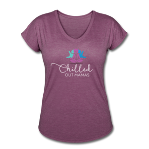 Chilled Out Mamas Women's Tri-Blend V-Neck T-Shirt - heather plum