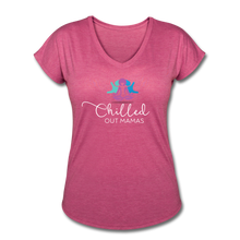 Load image into Gallery viewer, Chilled Out Mamas Women's Tri-Blend V-Neck T-Shirt - heather raspberry