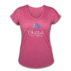 Chilled Out Mamas Women's Tri-Blend V-Neck T-Shirt - heather raspberry