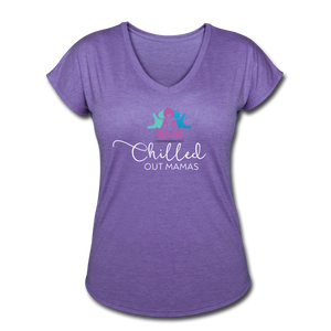 Chilled Out Mamas Women's Tri-Blend V-Neck T-Shirt - purple heather
