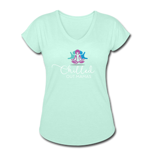 Chilled Out Mamas Women's Tri-Blend V-Neck T-Shirt - mint