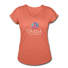 Load image into Gallery viewer, Chilled Out Mamas Women's Tri-Blend V-Neck T-Shirt - heather bronze