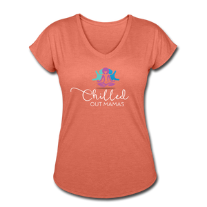 Chilled Out Mamas Women's Tri-Blend V-Neck T-Shirt - heather bronze