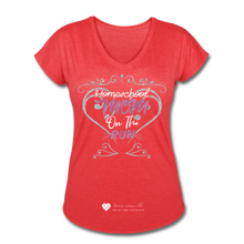 "Load image into Gallery viewer, TC ""Homeschool Mom On The Run"" Women's Tri-Blend V-Neck T-Shirt Dark - heather red"