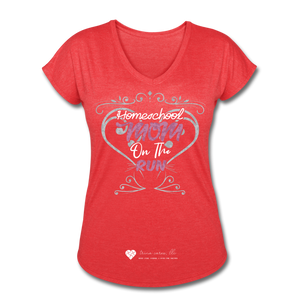 "TC ""Homeschool Mom On The Run"" Women's Tri-Blend V-Neck T-Shirt Dark - heather red"
