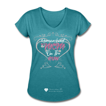 "Load image into Gallery viewer, TC ""Homeschool Mom On The Run"" Women's Tri-Blend V-Neck T-Shirt Dark - heather turquoise"