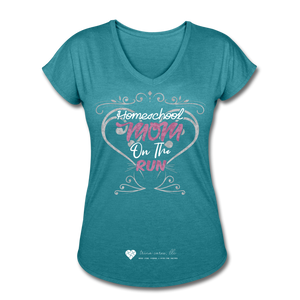 "TC ""Homeschool Mom On The Run"" Women's Tri-Blend V-Neck T-Shirt Dark - heather turquoise"