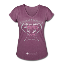 "Load image into Gallery viewer, TC ""Homeschool Mom On The Run"" Women's Tri-Blend V-Neck T-Shirt Dark - heather plum"