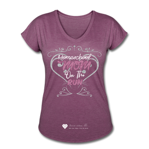 "TC ""Homeschool Mom On The Run"" Women's Tri-Blend V-Neck T-Shirt Dark - heather plum"