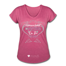 "Load image into Gallery viewer, TC ""Homeschool Mom On The Run"" Women's Tri-Blend V-Neck T-Shirt Dark - heather raspberry"