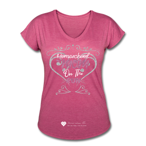 "TC ""Homeschool Mom On The Run"" Women's Tri-Blend V-Neck T-Shirt Dark - heather raspberry"