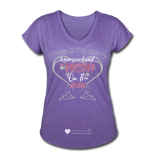 "Load image into Gallery viewer, TC ""Homeschool Mom On The Run"" Women's Tri-Blend V-Neck T-Shirt Dark - purple heather"
