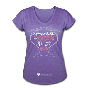 "TC ""Homeschool Mom On The Run"" Women's Tri-Blend V-Neck T-Shirt Dark - purple heather"