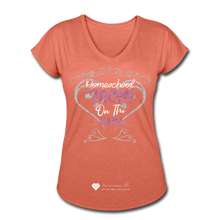 "Load image into Gallery viewer, TC ""Homeschool Mom On The Run"" Women's Tri-Blend V-Neck T-Shirt Dark - heather bronze"