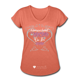 "TC ""Homeschool Mom On The Run"" Women's Tri-Blend V-Neck T-Shirt Dark - heather bronze"