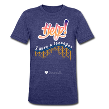"Load image into Gallery viewer, TC ""Help! I Have A Teenager"" Unisex Tri-Blend T-Shirt - heather indigo"