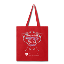 "Load image into Gallery viewer, TC ""Homeschool Mom on the Run"" Tote Bag - red"