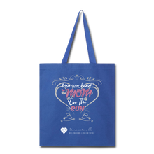 "Load image into Gallery viewer, TC ""Homeschool Mom on the Run"" Tote Bag - royal blue"