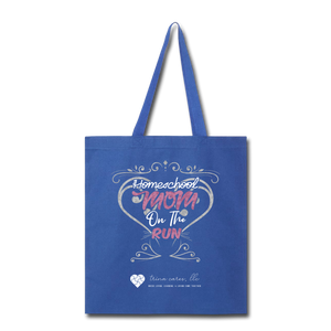"TC ""Homeschool Mom on the Run"" Tote Bag - royal blue"