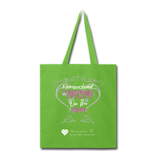 "Load image into Gallery viewer, TC ""Homeschool Mom on the Run"" Tote Bag - lime green"