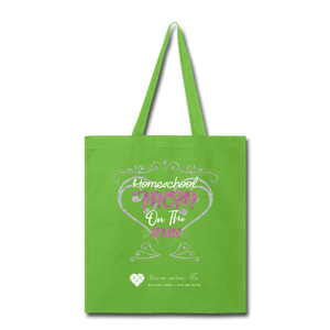 "TC ""Homeschool Mom on the Run"" Tote Bag - lime green"