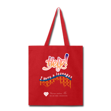 "Load image into Gallery viewer, TC ""Help! I Have A Teenager"" Tote Bag - red"