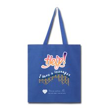"Load image into Gallery viewer, TC ""Help! I Have A Teenager"" Tote Bag - royal blue"