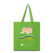 "Load image into Gallery viewer, TC ""Help! I Have A Teenager"" Tote Bag - lime green"