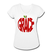Load image into Gallery viewer, AoG Grace Women's Tri-Blend V-Neck T-Shirt - white