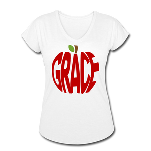 AoG Grace Women's Tri-Blend V-Neck T-Shirt - white