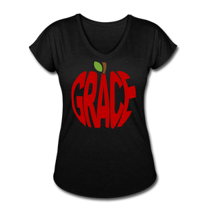 AoG Grace Women's Tri-Blend V-Neck T-Shirt - black