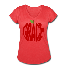 Load image into Gallery viewer, AoG Grace Women's Tri-Blend V-Neck T-Shirt - heather red