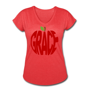 AoG Grace Women's Tri-Blend V-Neck T-Shirt - heather red