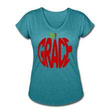 Load image into Gallery viewer, AoG Grace Women's Tri-Blend V-Neck T-Shirt - heather turquoise