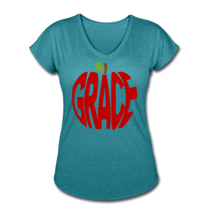 AoG Grace Women's Tri-Blend V-Neck T-Shirt - heather turquoise