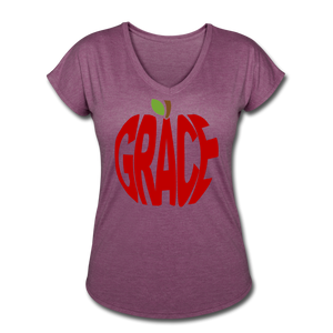 AoG Grace Women's Tri-Blend V-Neck T-Shirt - heather plum