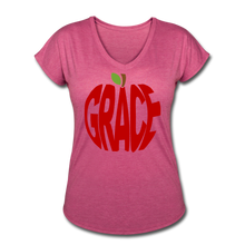 Load image into Gallery viewer, AoG Grace Women's Tri-Blend V-Neck T-Shirt - heather raspberry
