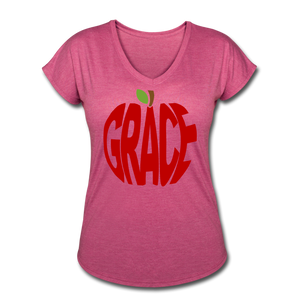 AoG Grace Women's Tri-Blend V-Neck T-Shirt - heather raspberry