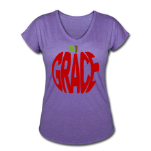 Load image into Gallery viewer, AoG Grace Women's Tri-Blend V-Neck T-Shirt - purple heather