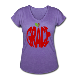 AoG Grace Women's Tri-Blend V-Neck T-Shirt - purple heather