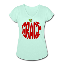 Load image into Gallery viewer, AoG Grace Women's Tri-Blend V-Neck T-Shirt - mint