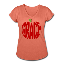 Load image into Gallery viewer, AoG Grace Women's Tri-Blend V-Neck T-Shirt - heather bronze