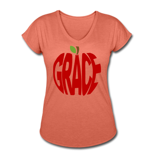 AoG Grace Women's Tri-Blend V-Neck T-Shirt - heather bronze