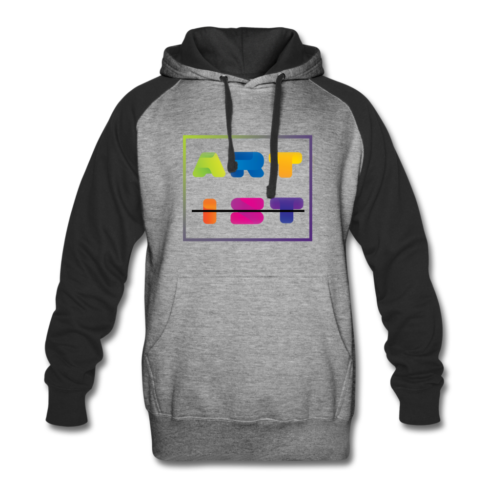 Art From Artist Colorful Colorblock Hoodie - heather gray/black