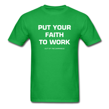 Load image into Gallery viewer, Put Your Faith To Work Unisex Standard T-Shirt - bright green