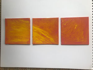 "5x5"" Pink & Yellow Set of Three Canvas Panels"